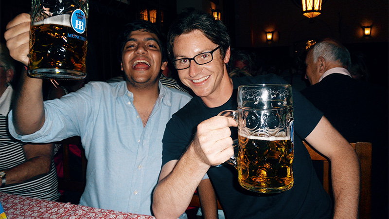 Photo of two losers drinking steins